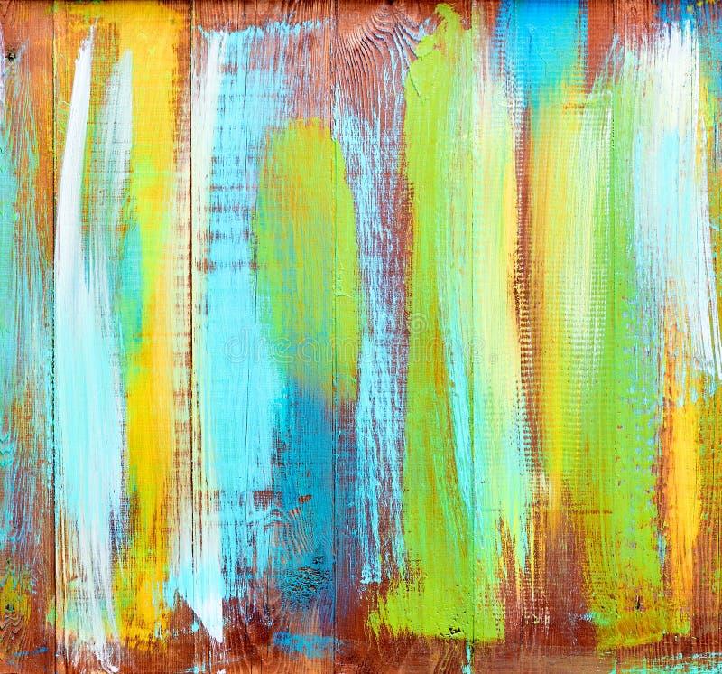 Fond en bois de texture de cru de résumé avec les marques multicolores de peinture image stock