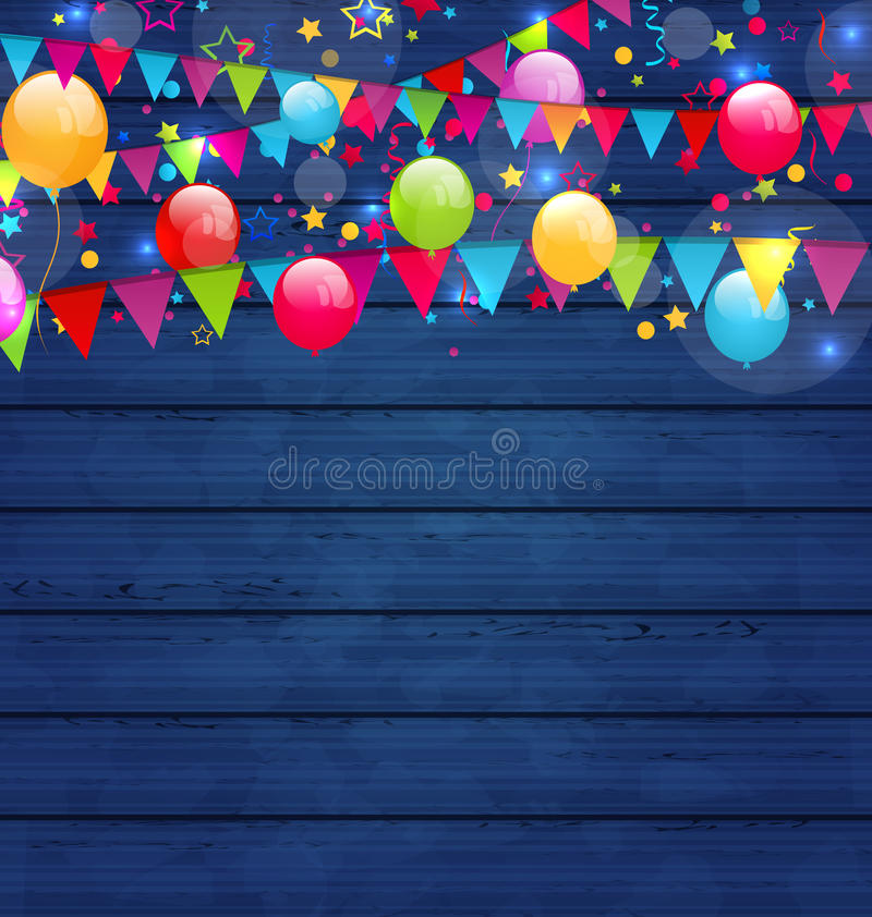 Fond en bois de vacances avec les ballons et le hangin multicolores illustration de vecteur