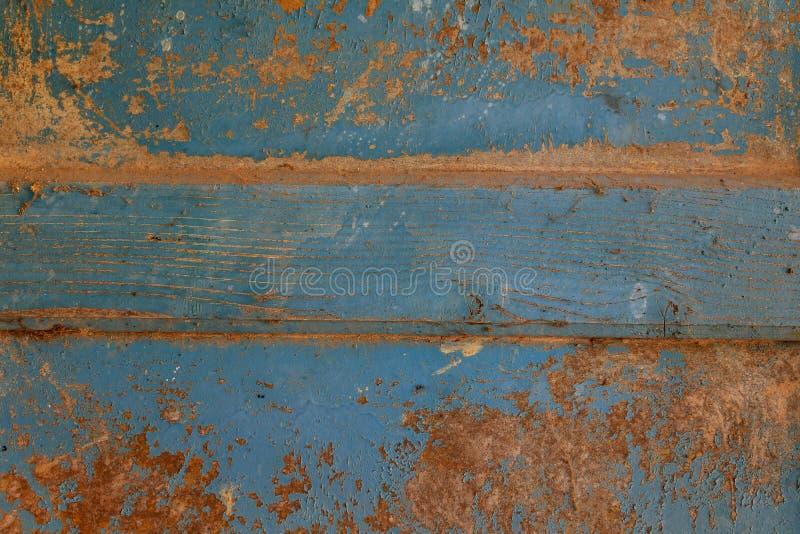 Fond en bois extérieur abstrait de texture de table Mur de Bluerustic fait de vieux bois photos stock