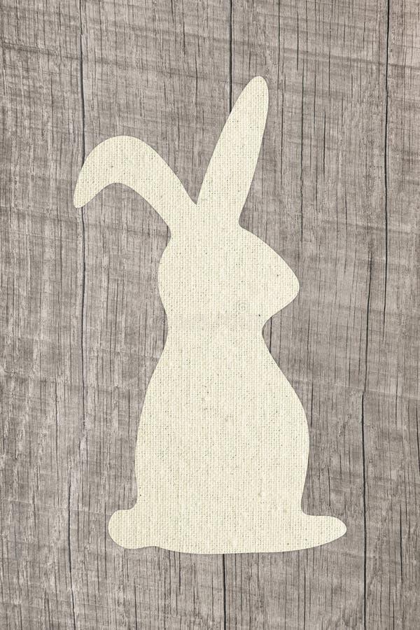 Fond en bois heureux de carte de voeux de Pâques avec le lapin pour le deco photo libre de droits
