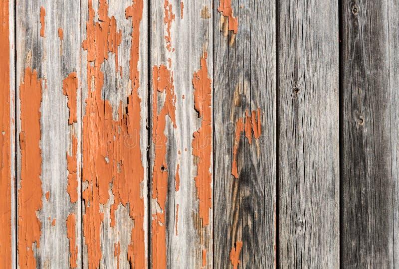 Fond en bois rouillé de vintage avec la peinture orange photographie stock