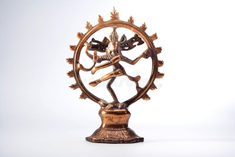 Fond en bronze indien antique de blanc de Shiva Nataraja Dansculpture photo stock