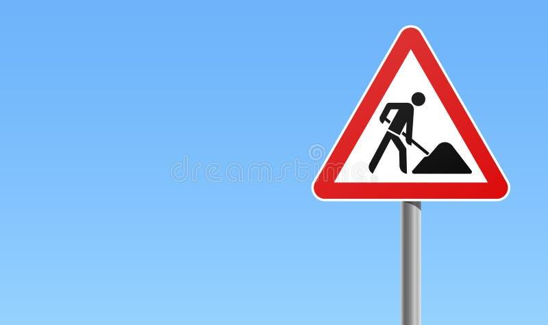 Fond en construction de ciel de signe de circulation routière illustration libre de droits