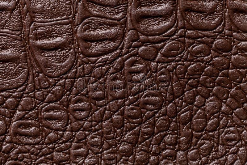 Fond en cuir brun fonc? de texture, plan rapproch? Peau de reptile, macro image libre de droits