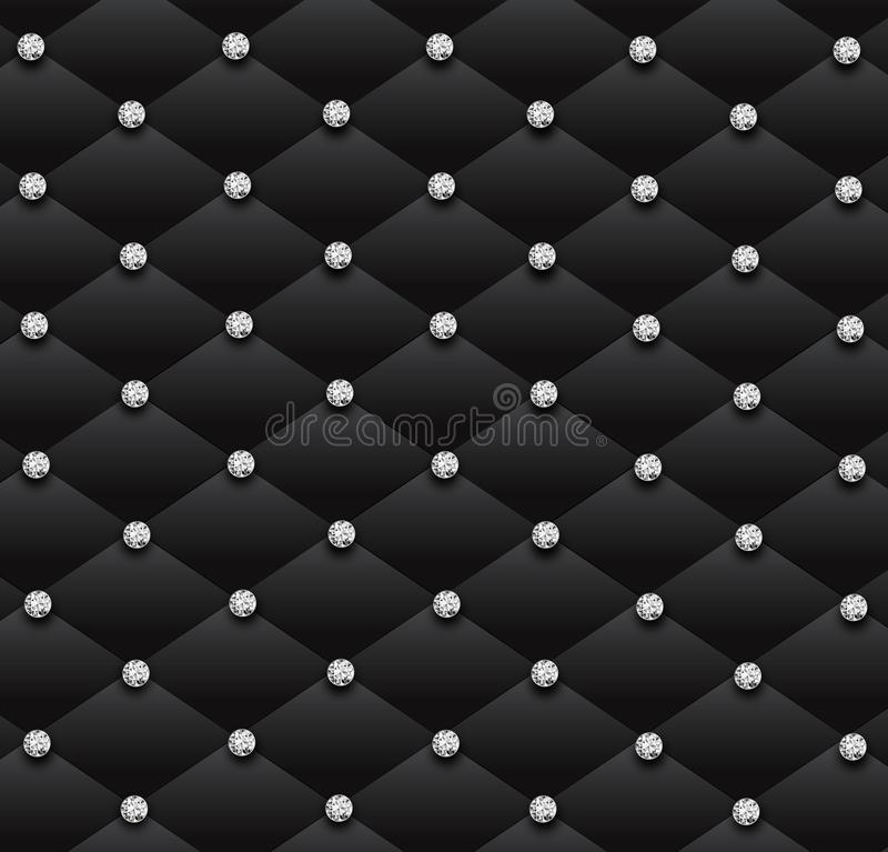 Fond en cuir de modèle de charme de diamants noirs de sofa illustration stock