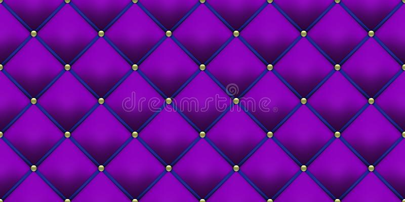 Fond en cuir pourpre royal de tapisserie d'ameublement bleue avec le modèle de boutons d'or Fond de luxe de velours de cru de vec illustration stock