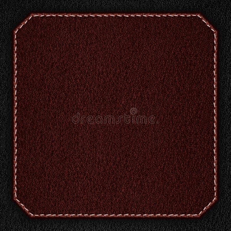Fond en cuir rouge avec la couture blanche photographie stock libre de droits