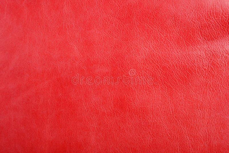 Fond en cuir rouge naturel de texture photographie stock