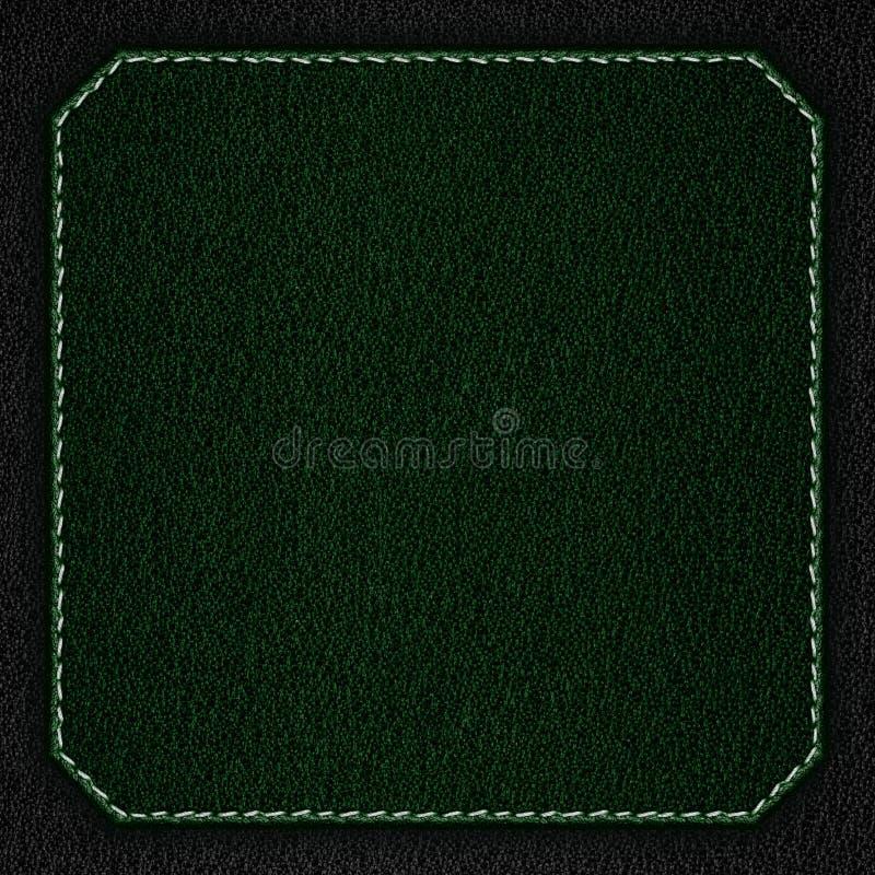 Fond en cuir vert avec la couture blanche photographie stock libre de droits
