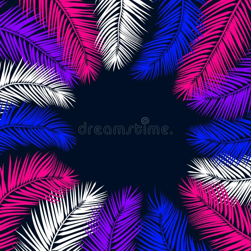 Fond en feuille de palmier au néon d'été Illustration ENV 10 illustration stock