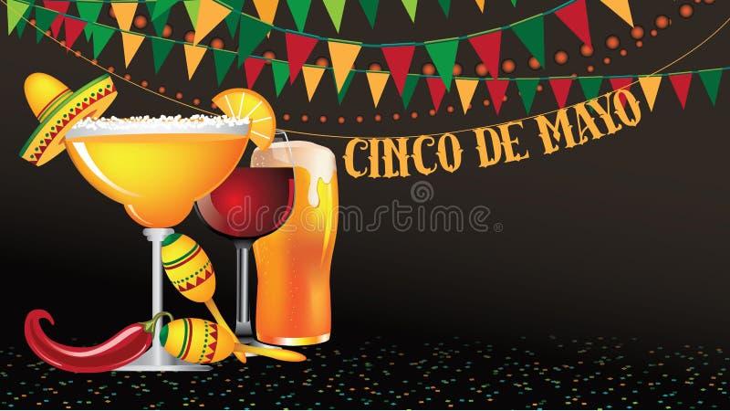 Fond en format large d'étamine de Cinco De Mayo illustration de vecteur
