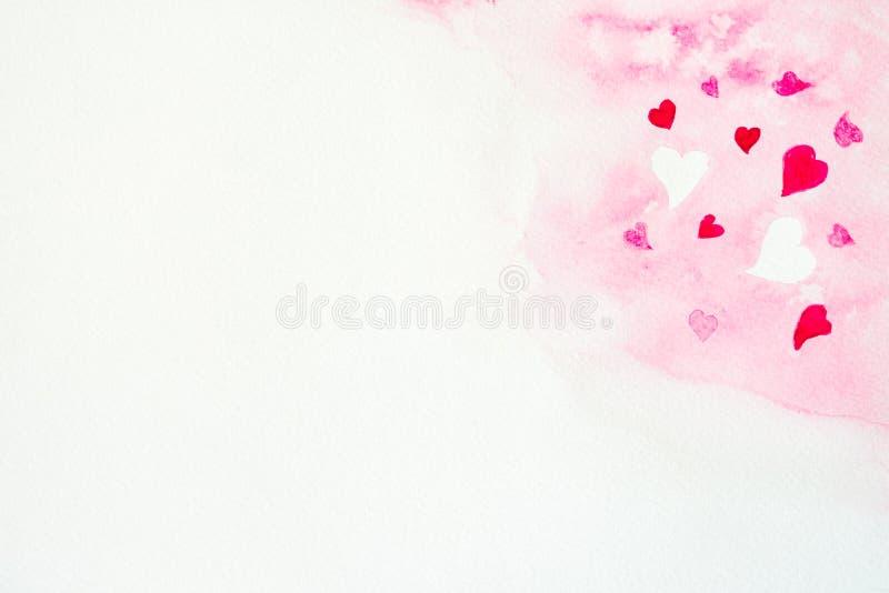 Fond en forme de coeur d'aquarelle photos stock