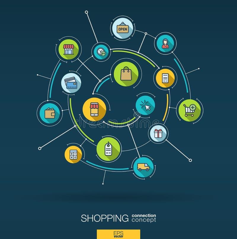 Fond en ligne abstrait d'achats Digital relient le système aux cercles intégrés, icônes plates de couleur Vecteur illustration libre de droits
