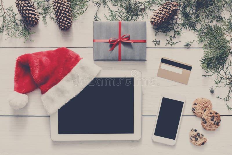 Fond en ligne d'achats de Noël photos libres de droits
