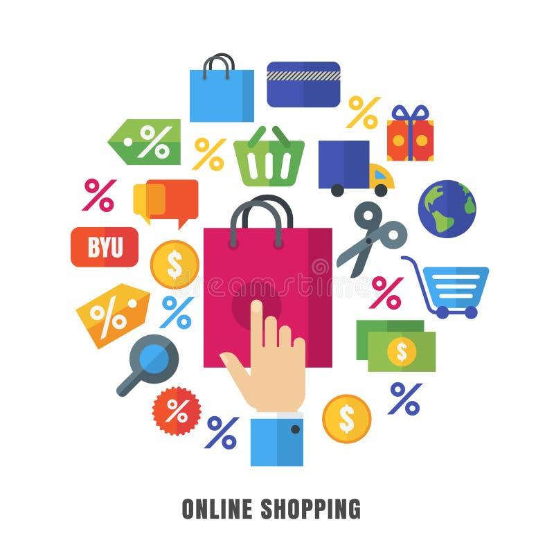 Fond en ligne de vecteur d'achats Icônes et sym plats de commerce électronique illustration libre de droits