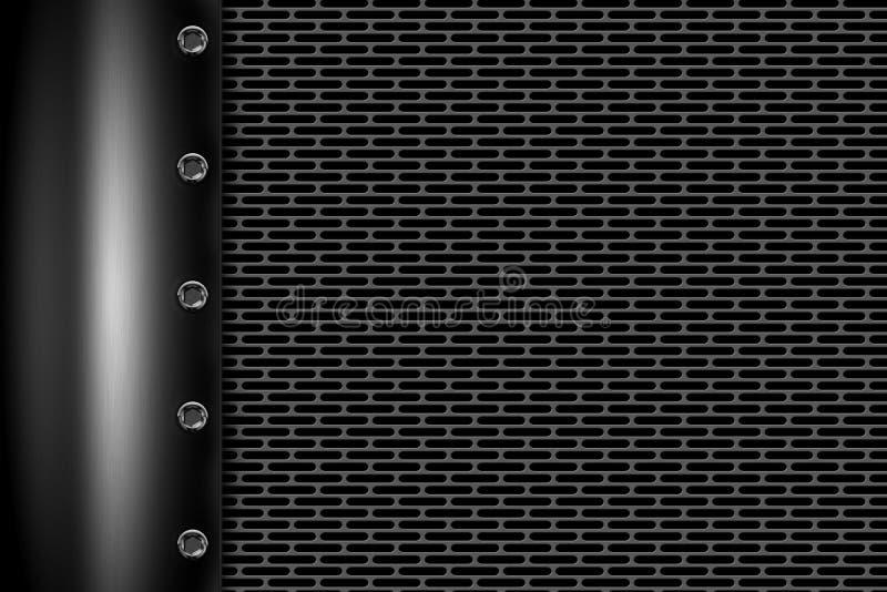 Fond en métal de Chrome avec le rivet sur la maille métallique grise illustration stock
