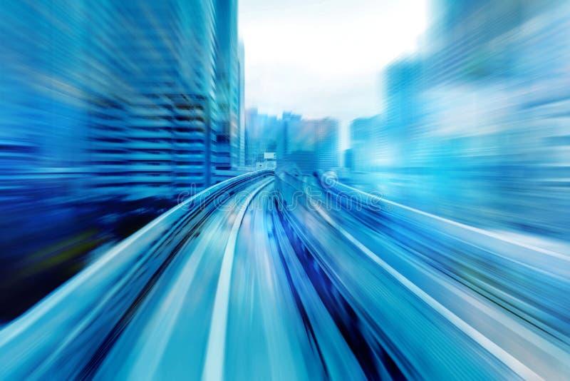Fond en mouvement de vitesse avec des lignes dans la forme de tour de voie mouvement de futuriste photos libres de droits