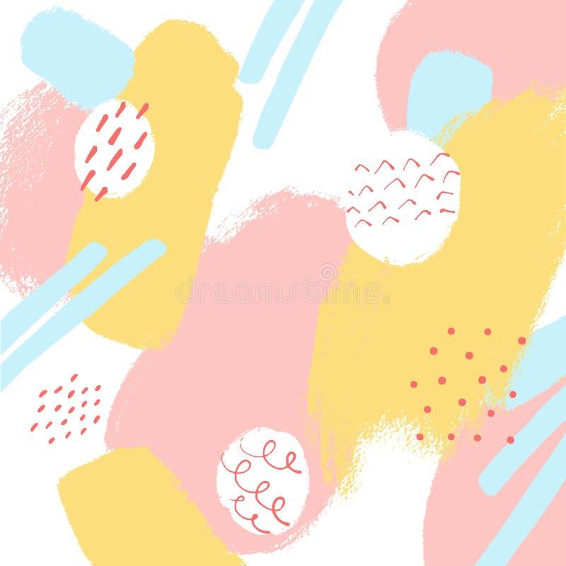 Fond en pastel d'abrégé sur vecteur avec des textures tirées par la main, style de Memphis Conception élégante pour le tissu, pap photographie stock libre de droits