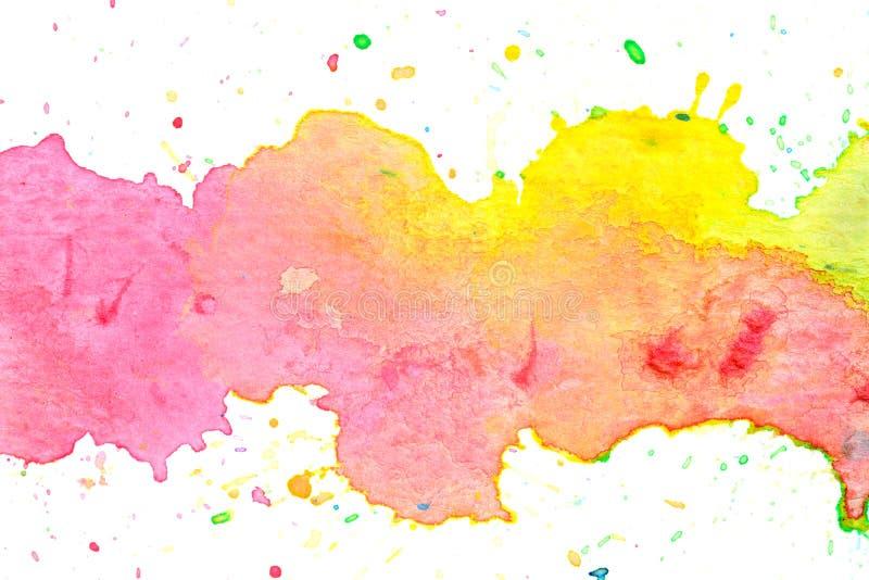 Fond en pastel jaune rose coloré de peinture d'aquarelle illustration stock