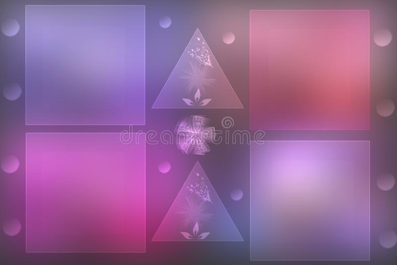 Fond en pastel rose lumineux de tache floue de fête abstraite avec quatre cadres ou boîtes avec l'espace et deux triangles sur un illustration de vecteur