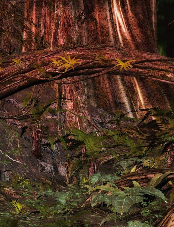 Fond enchanté de forêt illustration stock