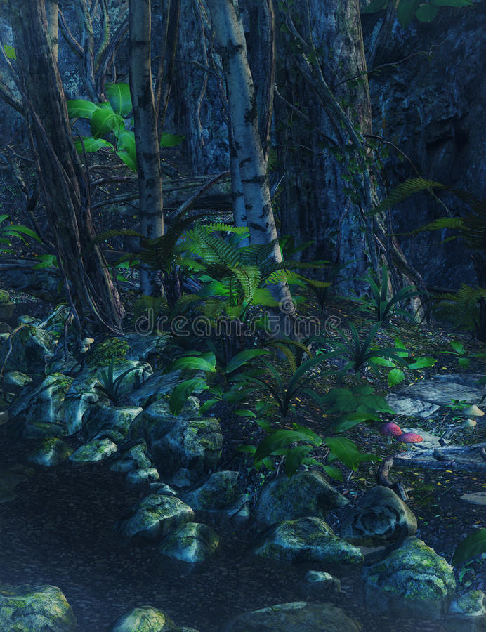 Fond enchanté de forêt illustration libre de droits