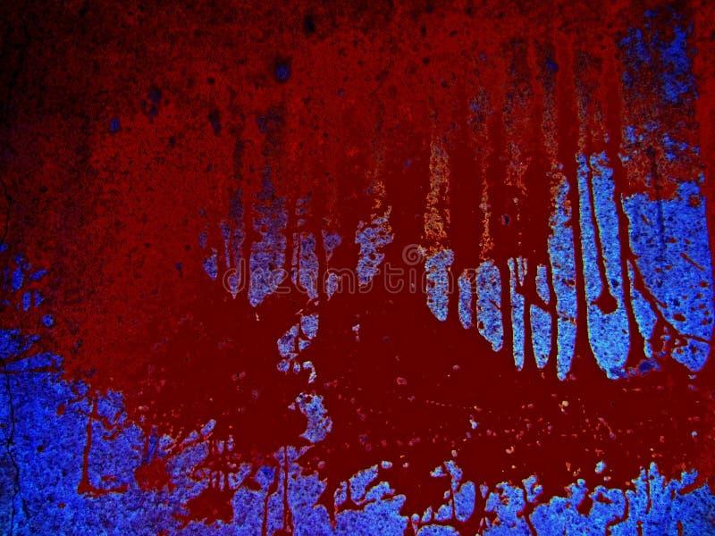Fond ensanglanté effrayant Danger, un magma du sang sur un fond bleu, taches brunes du carnage photos stock