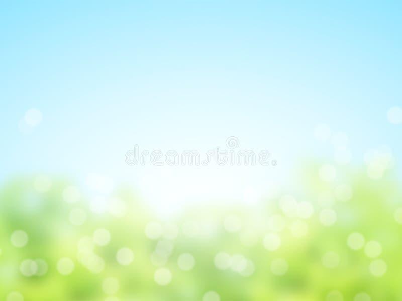 Fond ensoleillé abstrait de ressort de tache floue photo stock