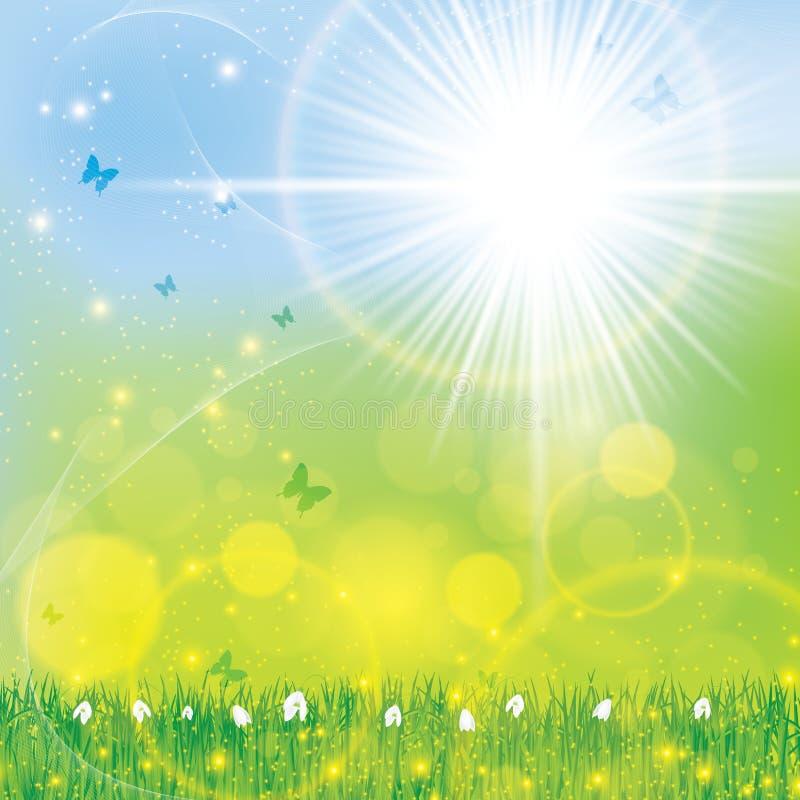 Fond ensoleillé lumineux floral de ressort abstrait illustration de vecteur