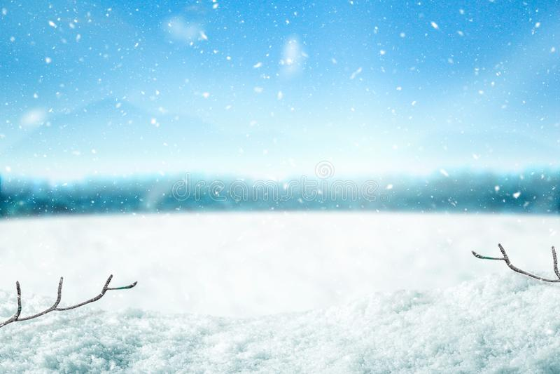 Fond et arbre de neige Contexte d'hiver avec la lumière du soleil dans le temps de matin Joyeux Noël et bonne année photo libre de droits