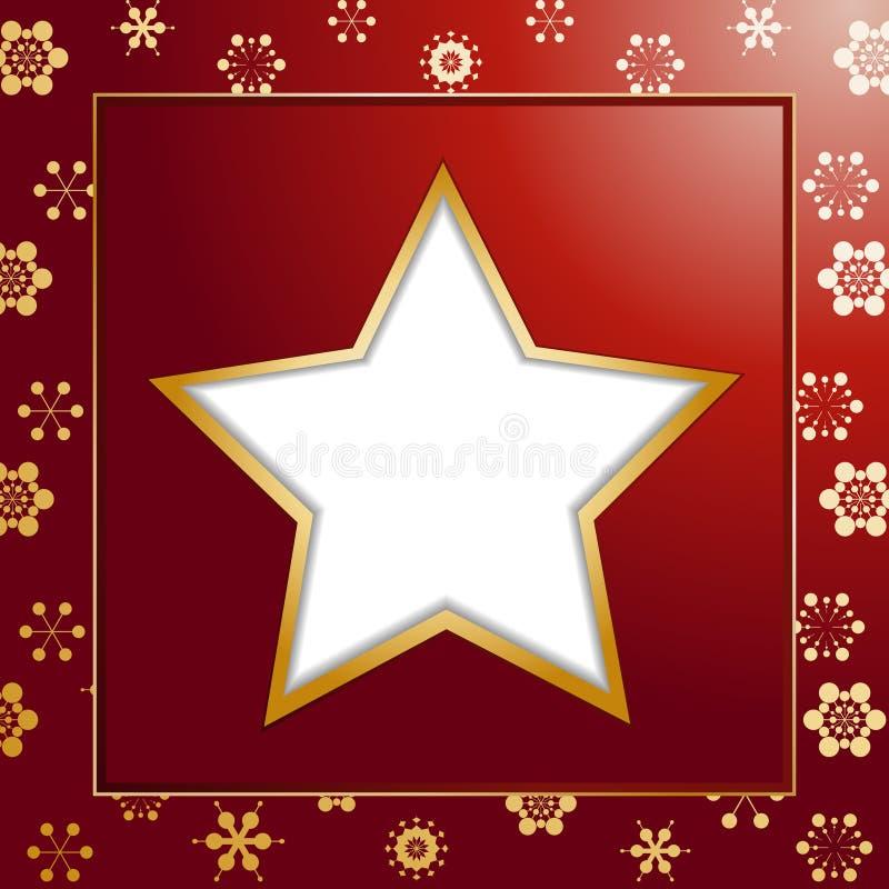Fond et cadre rouges d'étoile de Noël illustration stock