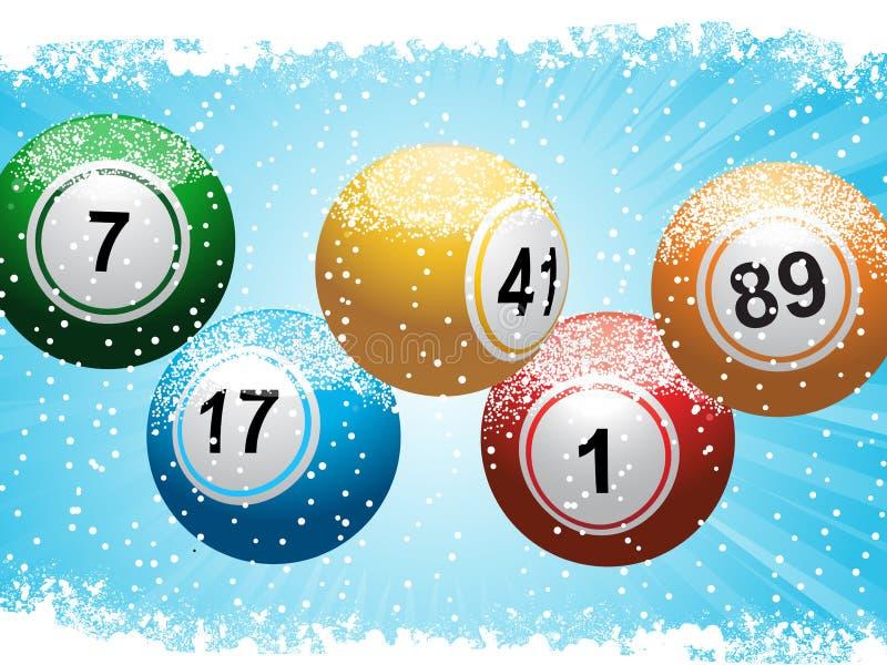 Fond et neige de bingo-test de loterie de Noël illustration stock