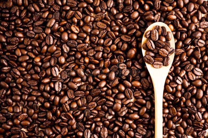 Fond et texture rôtis de grain de café avec la cuillère en bois, Co images libres de droits