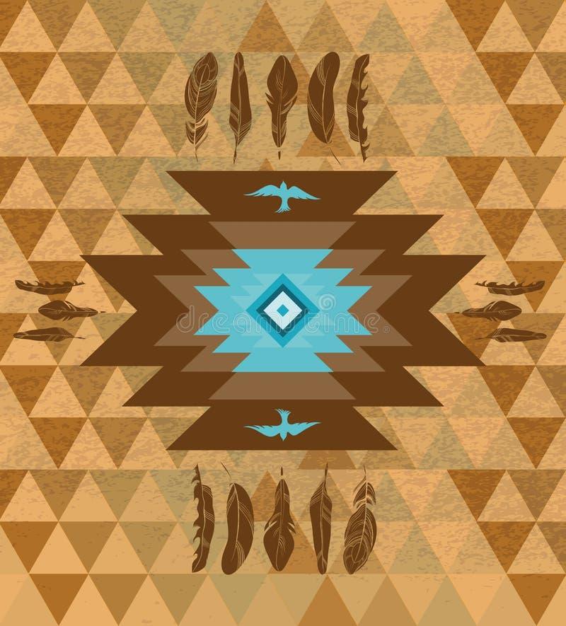 Fond ethnique décoratif coloré de natifs américains de vecteur illustration stock