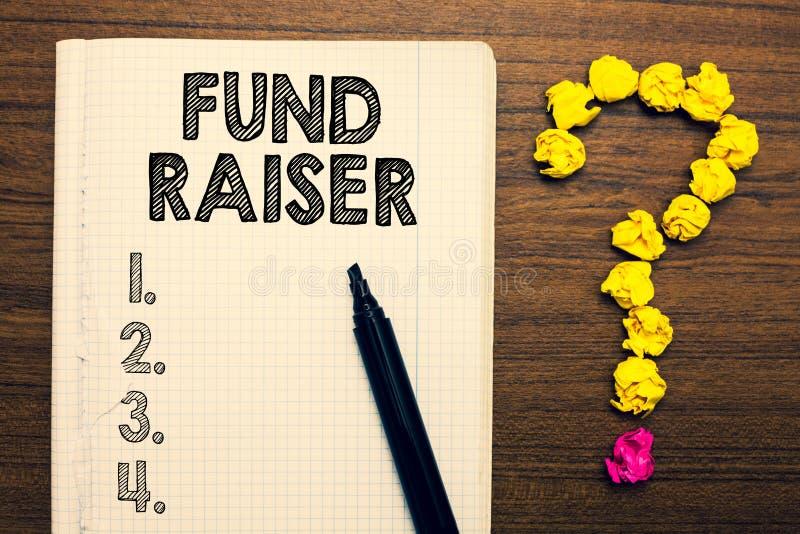 Fond för ordhandstiltext - raiser Affärsidé för personen vars jobb eller uppgift är sökandeekonomisk hjälp för välgörenhetanteckn royaltyfri foto