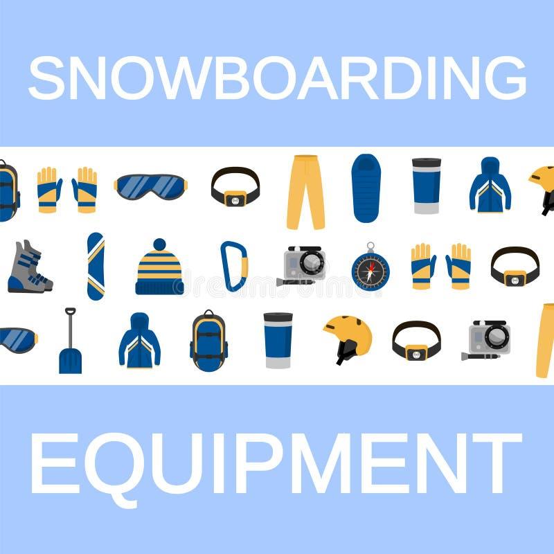 Fond faisant du surf des neiges différent de concept d'équipement, style plat illustration libre de droits