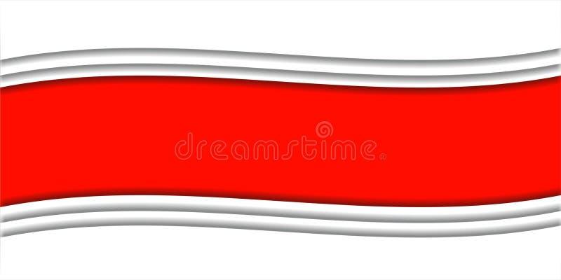Fond fait de rubans blancs et rouges illustration de vecteur