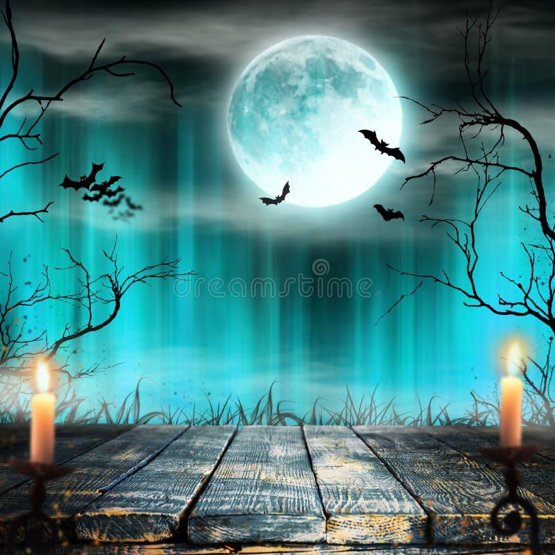 Fond fantasmagorique de Halloween avec des bougies illustration libre de droits