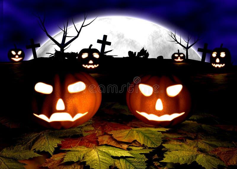 Fond fantasmagorique de Halloween avec des potirons dans a illustration libre de droits