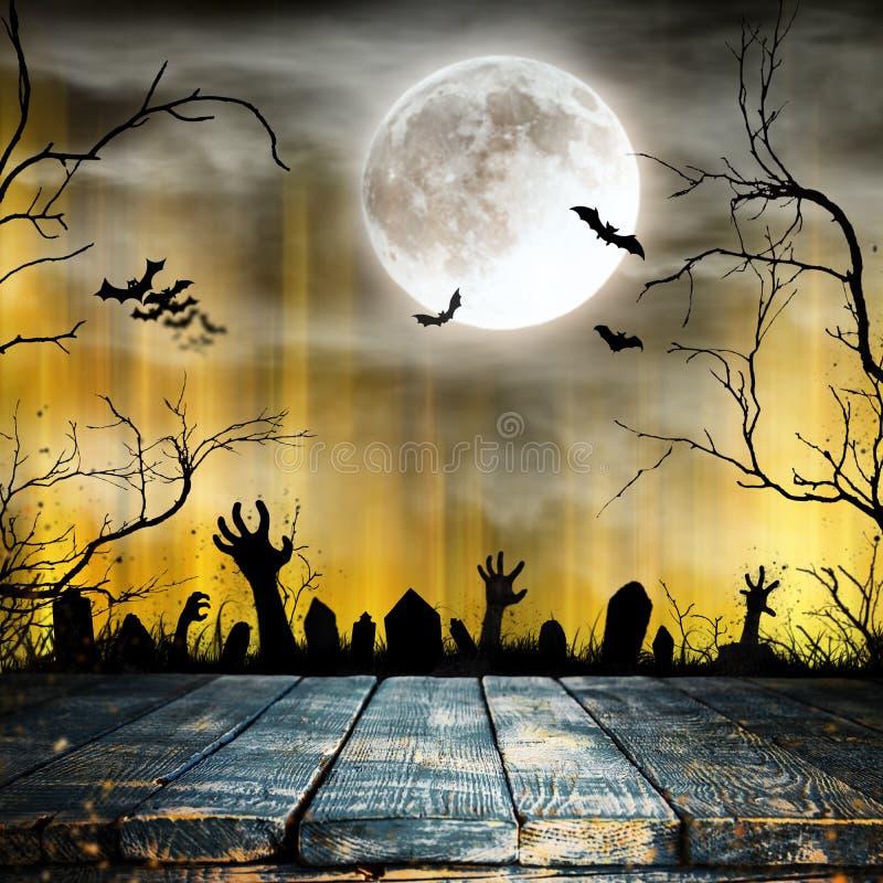 Fond fantasmagorique de Halloween avec de vieilles silhouettes d'arbres illustration stock
