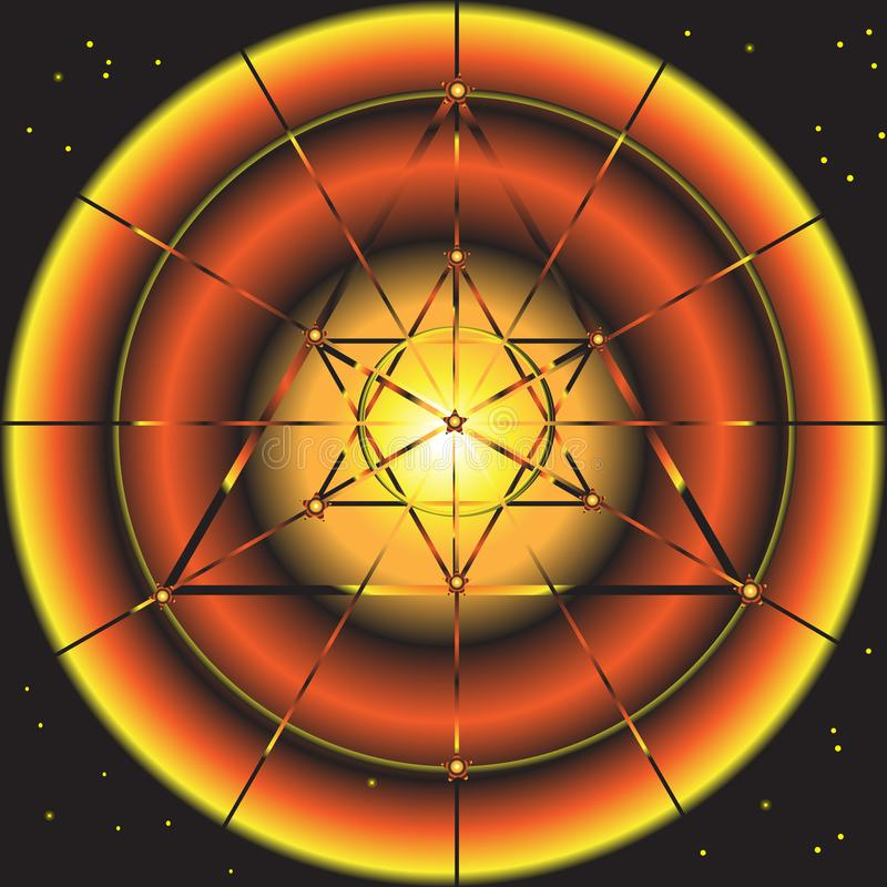 Fond fantastique abstrait de l'espace avec le symbole d'étoile illustration de vecteur