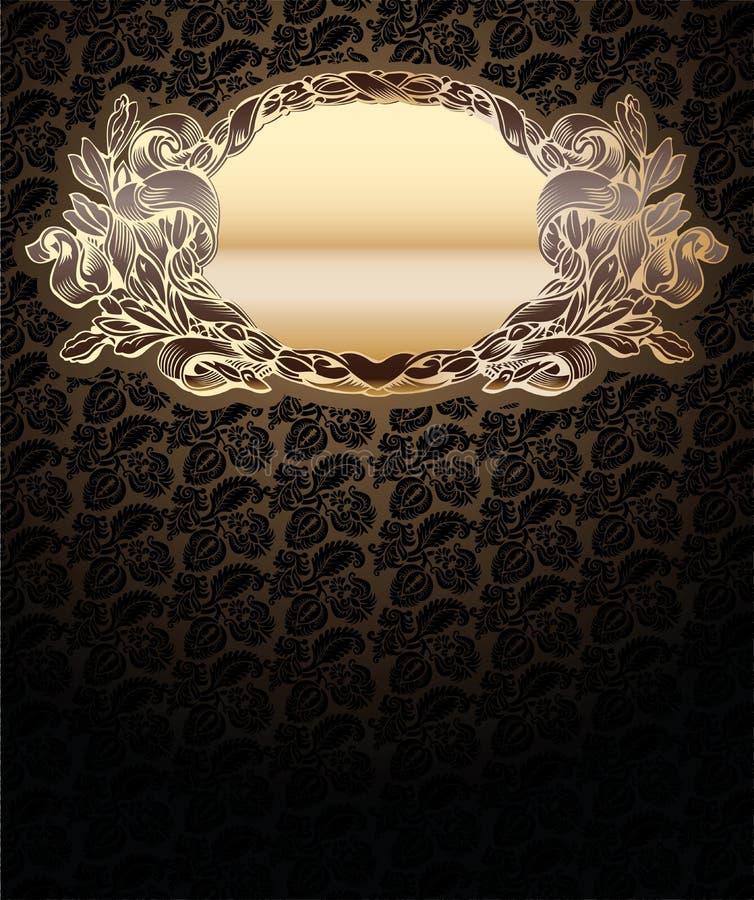Fond fleuri de vecteur avec le médaillon d'or illustration de vecteur