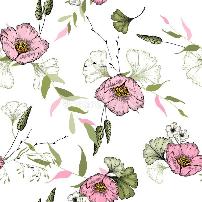 Fond fleurissant de cru papier peint Main-esquissé Illustration de vecteur Modèle floral à la mode avec les fleurs sauvages roses illustration libre de droits