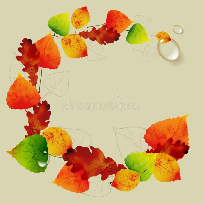 Fond floral abstrait d'automne - entourez des feuilles colorées illustration stock