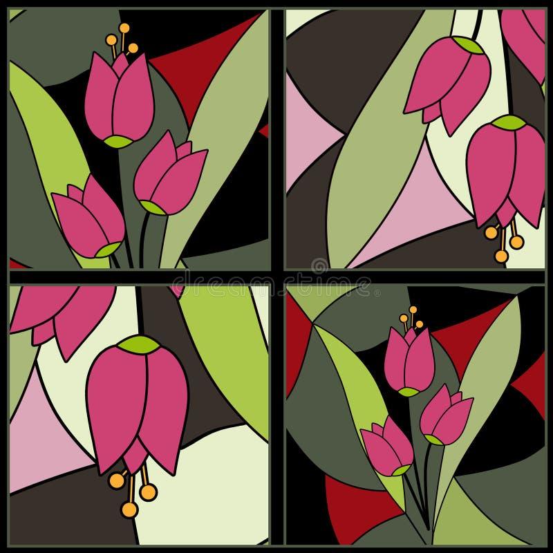 Fond floral abstrait de modèle en verre souillé de tulipes illustration stock