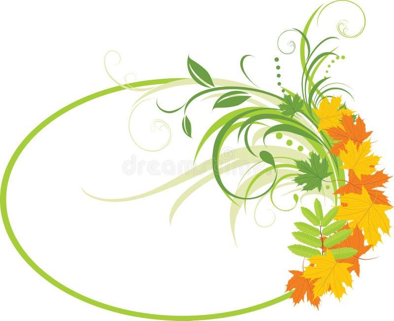 Fond floral avec des lames d'érable. Vue illustration libre de droits