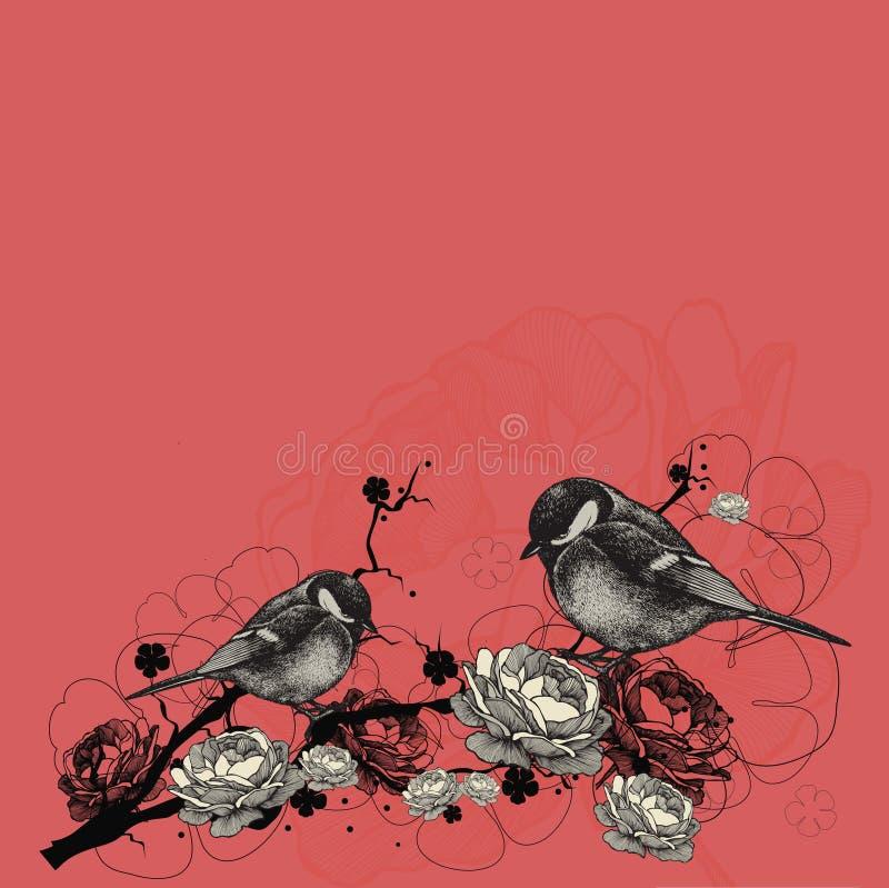 Fond floral avec des oiseaux et branches avec des fleurs Vecteur i illustration stock