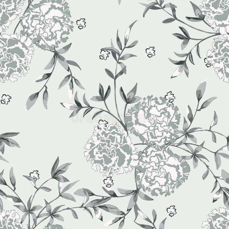 Fond floral avec des roses, de grands bourgeon floraux et des brindilles avec des feuilles illustration stock