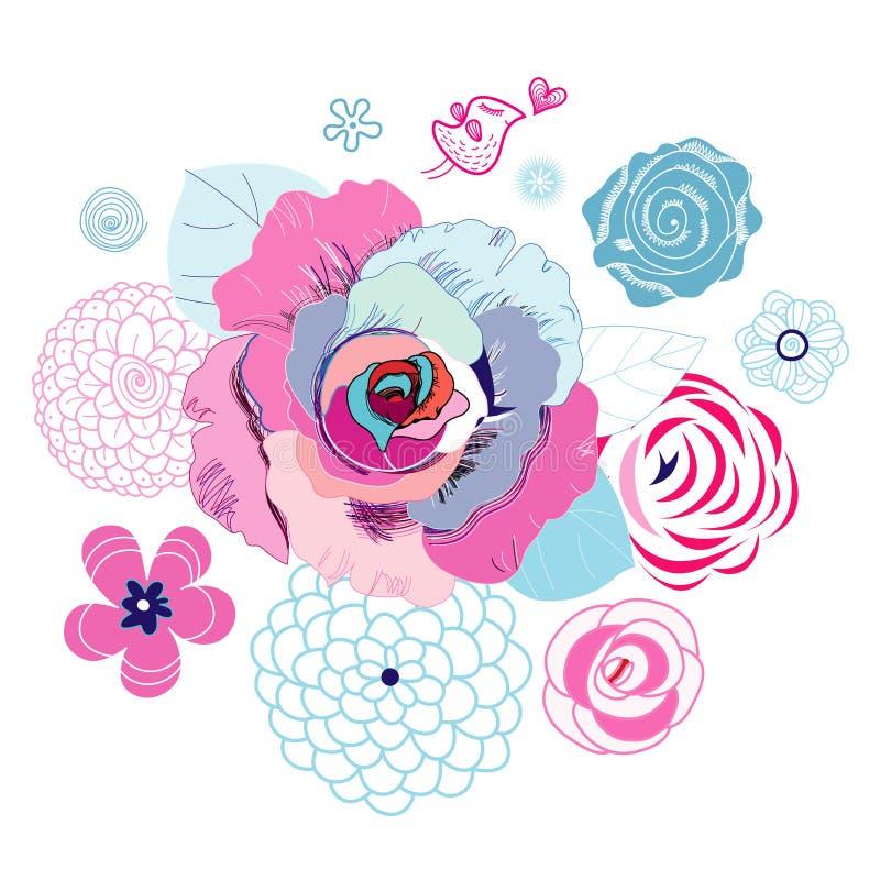 Fond floral avec l'oiseau d'amour illustration libre de droits