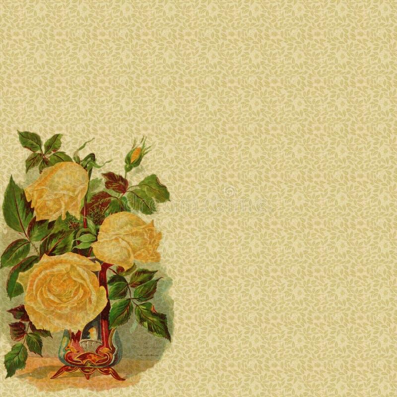 Fond floral avec la décoration rose de cru illustration de vecteur